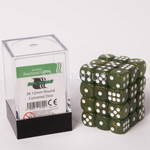 Blackfire Dice Cube - 12mm D6 36 Dice Set - Marbled Pearlized Green